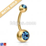 Matte Gold IP Over 316L Surgical Steel Navel Ring with Gems