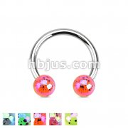Aurora Borealis Coating Over Splash Acrylic Balls 316L Surgical Steel Horseshoe