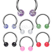 316L Surgical Steel 16GA 3/8 Horseshoe with Acrylic Ultra Glitter Balls 140pc Bulk Pack (20pc x 7 colors)