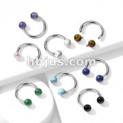 Semi Precious Stone Internally Threaded 316L Surgical Steel Horseshoes