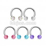 50 Pcs Crystal Paved Ferido Balls 316L Surgical Steel Horseshoe Bulk Pack (10 pcs x 5 Colors)
