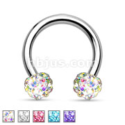 Crystal Paved Ferido Balls 316L Surgical Steel Circular Barbell/Horseshoe