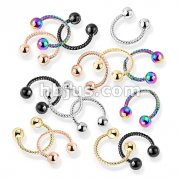 100 Pcs Twisted Rope PVD over 316L Surgical Steel Circular Barbell/Horseshoe Bulk Pack (20 Pcs x 5 Colors)