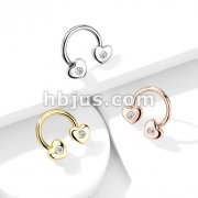 CZ Set Hearts Ends 316L Surgical Steel Circular, Horseshoe