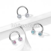 Paved CZ Daisy Ends  316L Surgical Steel Circular Horseshoe