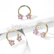 Pink Enamel Flower With CZ Center 316L Surgical Steel Circular Horseshoe