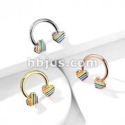 Rainbow Striped Heart Ends 316L Surgical Steel Circular, Horseshoe