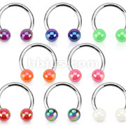 Aurora Borealis Coating Over Acrylic Balls 316L Surgical Steel Horseshoe