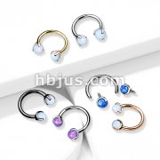 Claw Set Opals on Internally Threaded 316L Surgical Steel Horseshoes for Cartilage, Daith, Eyebrow, Septum and More