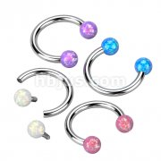 Synthetic Opal Horseshoe 316L Surgical Steel Circular Barbell