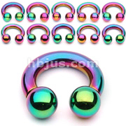 10PC Rainbow Titanium IP Over 316L Surgical Steel Circular Barbell Package