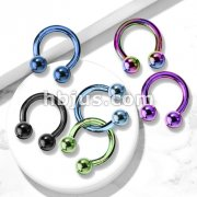 Horseshoe /Circular barbells Titanium IP over 316L Surgical Stainless Steel