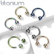5-Gem Paved Balls Titanium IP Over 316L Surgical Steel Horseshoe Circular Barbell