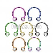 70 Pcs Titanium IP Over 316L Surgical Steel Horseshoe with Front Facing Press Fit Gem Balls Bulk Pack (10 pcs x 7 colors)