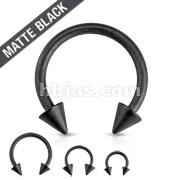 Matte Black IP Horseshoe with Spike Ends 316L Surgical Steel Circular Barbell