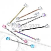 316L Surgical Steel Threadless Push in Industrial Barbells with Prong Set CZ Ends