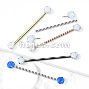 316L Surgical Steel Threadless Push in Industrial Barbells with Prong Set Opal Ends