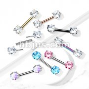 316L Surgical Steel Threadless Push in Nipple Barbells with Prong Set Round CZ Ends
