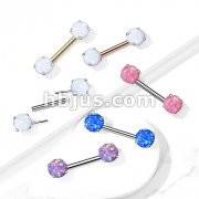316L Surgical Steel Threadless Push in Nipple Barbells with Prong Set Round Opal Ends