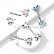 316L Surgical Steel Threadless Push In Nipple Barbell with 5 CZ Butterfly and Ball Cluster On Each Side