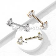 316L Surgical Steel Threadless Push In Nipple Barbell with 4 CZ and Ball Cluster On Each Side