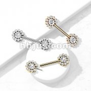 316L Surgical Steel Threadless Push In Nipple Barbell with 11 CZ Flower Cluster On Each Side