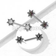 316L Surgical Steel Threadless Push In Nipple Barbell with CZ Center Star Cluster On Each Side