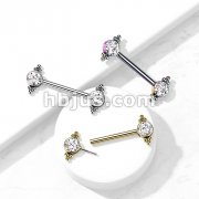 316L Surgical Steel Threadless Push In Nipple Barbell with CZ and Ball Clusters On Each Side