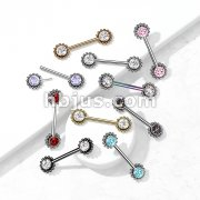 316L Surgical Steel Threadless Push In Nipple Barbell with Beaded Ball Edge and CZ Center On Each Side