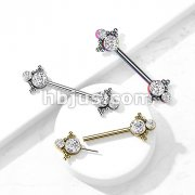 316L Surgical Steel Threadless Push In Nipple Barbell with Beaded Ball Edge and Double CZ On Each Side