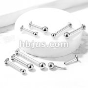 Push In Top Ball 316L Surgical Steel ThreadlessLabret, Monroe, Flat Back Stud.