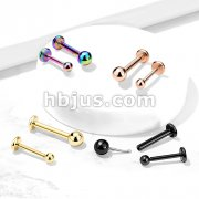 Push In Top Ball PVD Over316L Surgical Steel Threadless Labret, Monroe, Flat Back Stud.