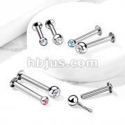 Push In Press Fit Jeweled Ball Top 316L Surgical Steel Labret, Monroe, Flat Back Stud.