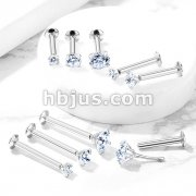 Push In Prong Set CZ Top 316L Surgical Steel Labret, Monroe, Flat Back Stud.