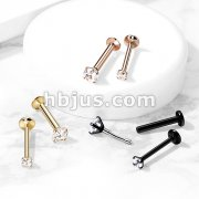 CZ Prong Set Threadless top PVD Over 316L Surgical Steel Push in StyleLabret, Flat Back Studs