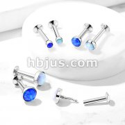 Push In Opal Flat Set Top 316L Surgical Steel Labret, Monroe, Flat Back Stud.