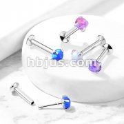 Push In Prong Set Opal Top 316L Surgical Steel Flat Back Studs for Labret, Monroe, Ear Cartilage, and More