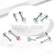 Gem Set Half Ball Top Push In Threadless 316L Surgical Steel Flat Back Stud for Nose, Labret, Monroe, Cartilageand More
