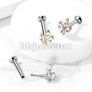 3 Marquise CZ Prong set Threadless Top 316L Surgical Steel Push in Style Labret, Flat Back Studs