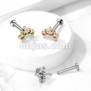 CZ Paved Tiara Threadless Top 316L Surgical Steel Push in Style Labret, Flat Back Studs For Ear Cartilage and Nos
