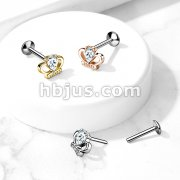CZ Set Crown Threadless Top 316L Surgical Steel Push in Style Labret, Flat Back Nose Studs