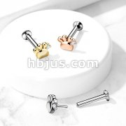 CZ Set Paw Threadless Top 316L Surgical Steel Push in Style Labret, Flat Back Studs For Ear Cartilage and Nose