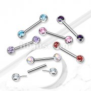 Implant Grade Titanium Threadless Push in Nipple Barbell with CZ Bezel Set Front Facing Flat Tops