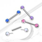 Implant Grade Titanium Threadless Push in Nipple Barbell with Opal Bezel Set Front Facing Flat Tops