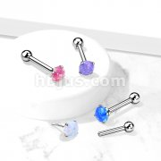 Implant Grade Titanium Threadless Push-In Cartilage Barbell with Claw Set Opal