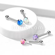 Implant Grade Titanium Threadless Push-In Cartilage Barbell With Claw Set Opal Top
