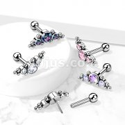 Implant Grade Titanium Threadless Push-In Barbell Stud with 3 CZ and Ball Clusters