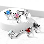 Implant Grade Titanium Threadless Push In Cartilage Barbells with 4-Bezel set CZ or Opaland Ball Cluster Top