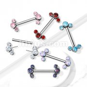 Implant Grade Titanium Threadless Push in Nipple Barbell with 3 CZ Bezel Set Ends