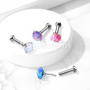 Implant Grade Titanium Threadless Push in Labret, Flat Back Studs with Opal Prong Set Top for Cartilage, Monroe, Nose and More